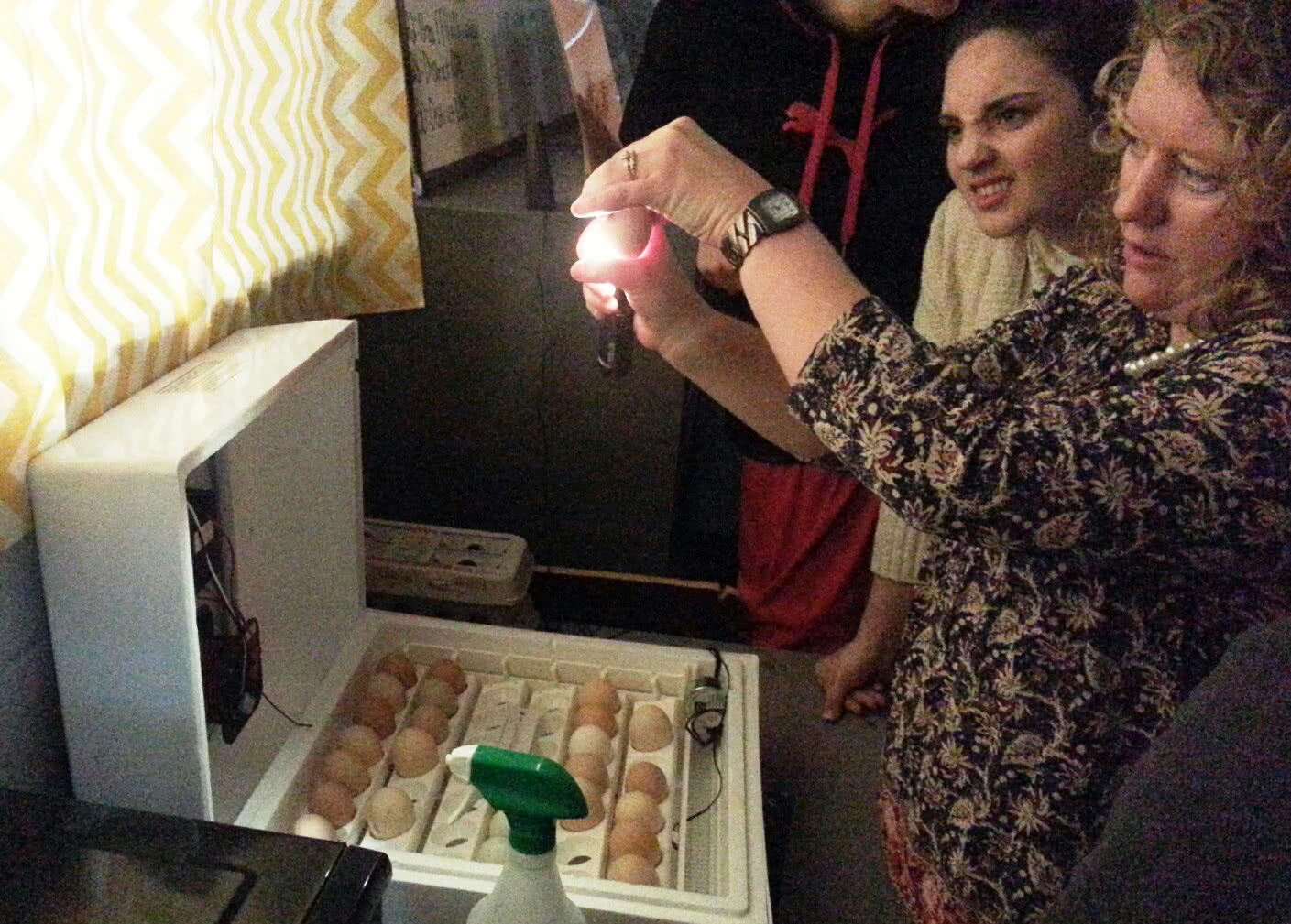 Bethany Prenger and student candling egg
