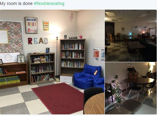 Flexible seating in Angie's classroom
