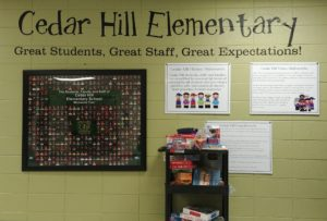 Photo of Cedar Hill Elementary hallway graphics